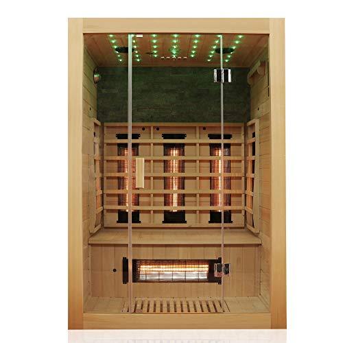Dewello Infrarotkabine MILTON 135x105 für 1-2 Personen aus Hemlock Holz mit...