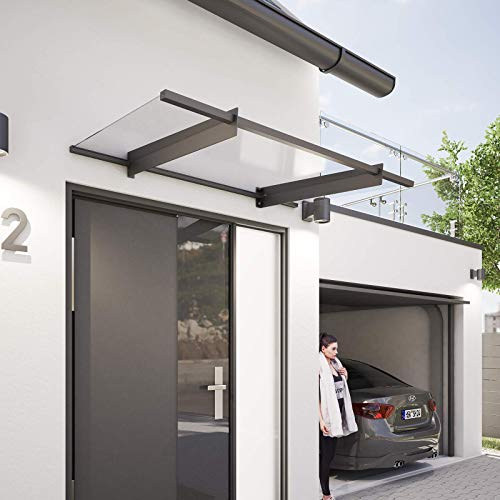 Schulte Vordach 151x92 cm Haustür-Dach Überdachung Stahl Anthrazit rostfrei...