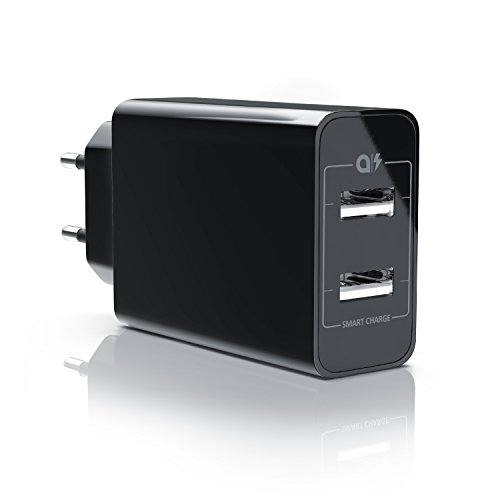 CSL - 24W USB 2 Port Ladegerät Netzteil Dual Port mit Smart Charge Solid Charge...