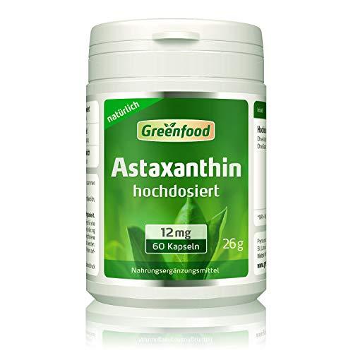 Greenfood Astaxanthin, 12 mg, hochdosiert, 60 Kapseln – natürliches starkes...