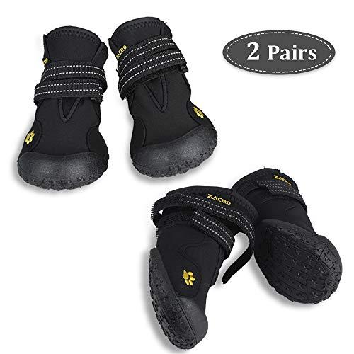 Zacro 4PCS Hundeschutzstiefel Wasserdicht Schuhe mit Wwei Reflektierenden Riemen...