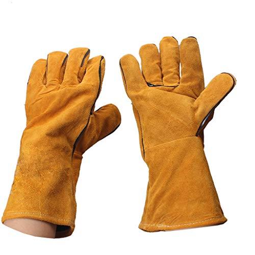 A Npeiyi Schweißhandschuhe Lange Lederhandschuhe Hitzebeständig Gefüttert...