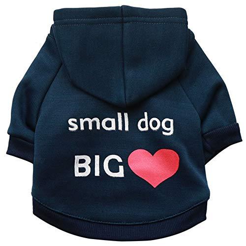 YABAISHI Haustier Hund Baumwolle mit Kapuze Spitze-Blau-T-Shirt (Color : Blue,...