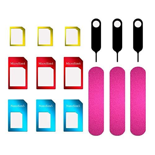 JZZJ 3 Set SIM Karte Adapter 5 in 1 Nano Mikro Standard SIM Karte Konverter Kit...