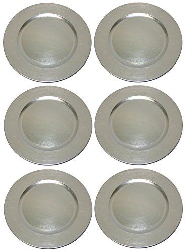 TAMLED Platzteller Silber Used Look Dekoteller 6 Stück Ø 33 cm...