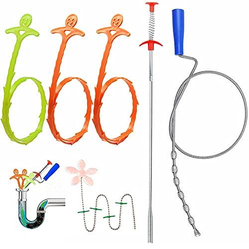 Rohrreinigungsspirale, Abflussspirale, 6er Set Multifunktional Abflussreiniger...