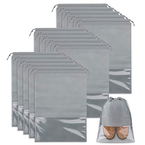 Whaline 15 Stück Schuhbeutel Transparente Schuhtasche Set, Schuhsack mit...