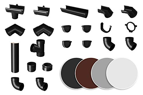 Dachrinne grau - PVC Kunststoff Regenrinnen in 4 modernen Farben, für...