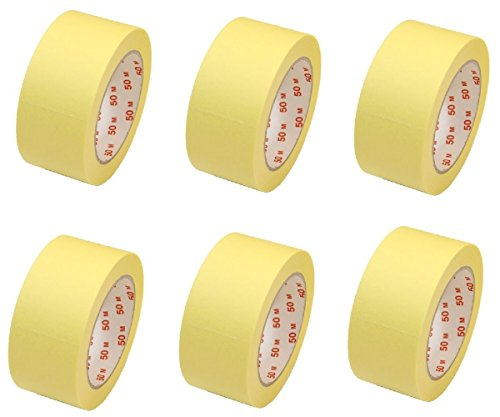 6 Rollen Flachkrepp Abklebeband Malerkrepp Malerband 50mm x 50m bis 60°C (EUR...
