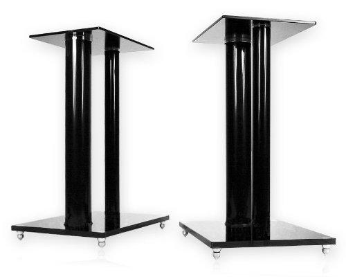 1 Paar Boxenständer V2 Black-Line aus Glas/Alu mit Spikes, 2 Säulen,...