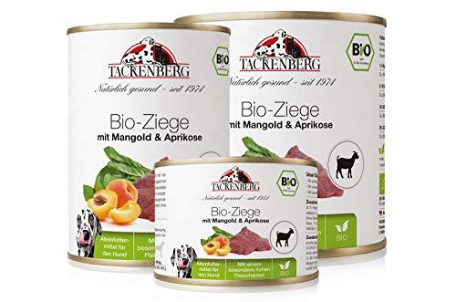 Tackenberg Hundefutter, Nassfutter Hunde, 100% Bio Ziege mit Mangold & Aprikose,...
