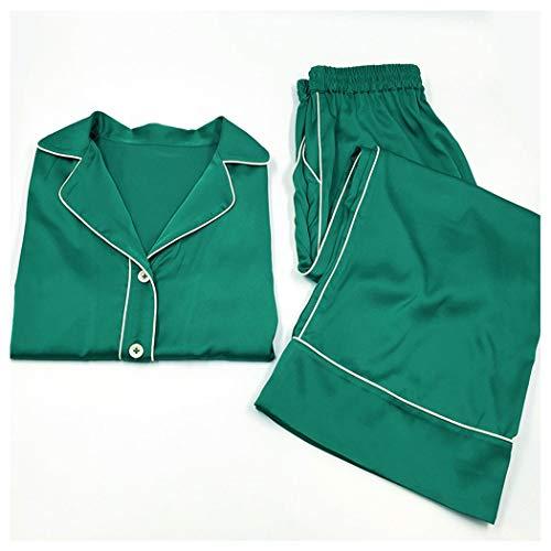 AXIANQIPJS Frauen Europäische und amerikanische Schlafanzüge 100% Seide Anzug...