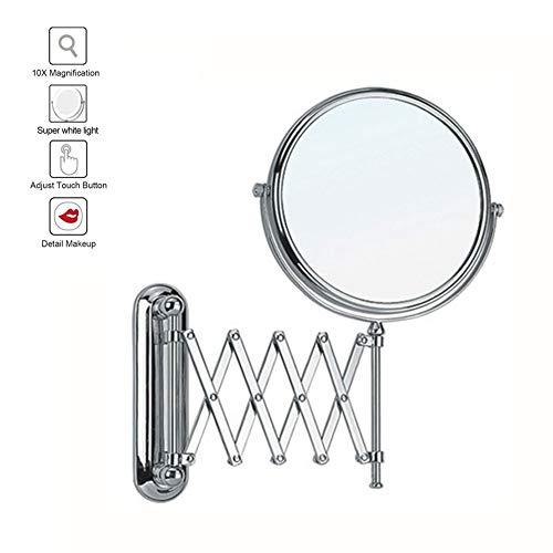 XNDCYX Wandmontage Zweiseitig Kosmetikspiegel, Schwenkbar Wandmontierter...