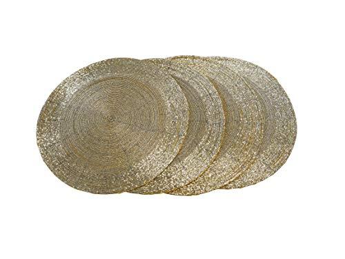 CB Home & Style Platzset mit Perlen rund 35 cm Tischset 4er Set Pack Glasperlen...