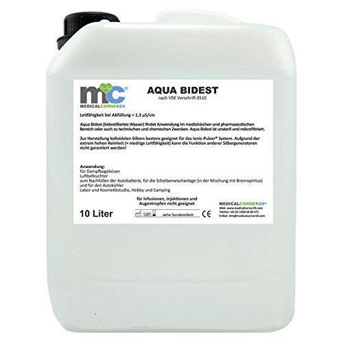 Aqua Bidest 10 Liter Kanister, Laborwasser, Reinst-Wasser, Labor Wasser, 2-fach...