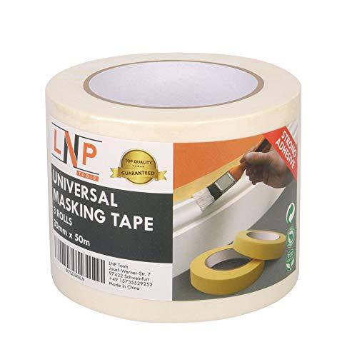 LNP Tools Malerkrepp 30mm x 50m (Extra Stark) Kreppband 3er Pack für...