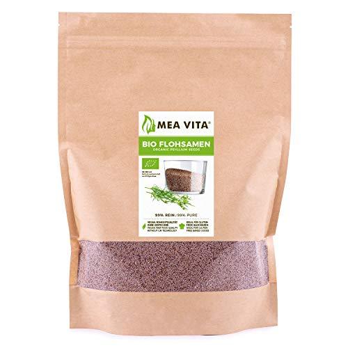 MeaVita Bio Flohsamen, 99% rein, 1000g im Beutel Premium Qualität aus Indien im...