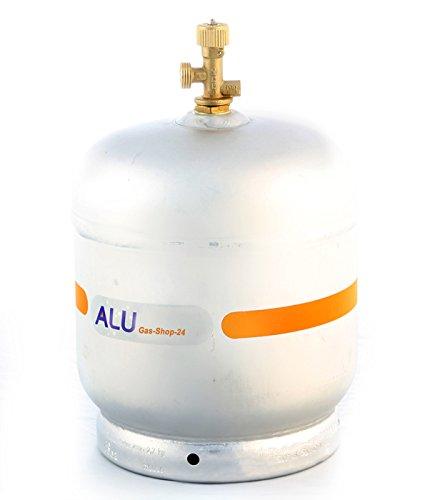 Alu Propangasflasche/Gasflasche 2,7 kg mit abnehmbaren Gasventil...