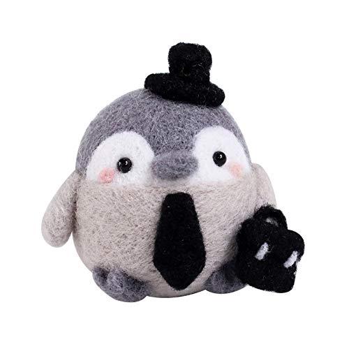 Netter Pinguin Filzwolle Set, Filzwolle Märchenwolle Set mit Nadelfilz...