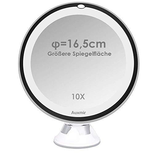 Auxmir Kosmetikspiegel LED mit Licht, Saugnapf, 10x Vergrößerung und 16,5cm...