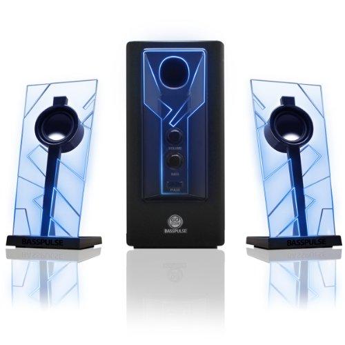 GOgroove 2.1 Computer Lautsprechersystem mit LED Effekt Desktop Lautsprecher...