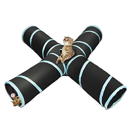 Katzentunnel Katzenspielzeug 4-Wege Katze Tunnel Pet Cat Play Tunnel Tube...