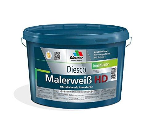 Diesco Malerweiß HD Hochdeckende Innenfarbe Wandfarbe (1 Liter)