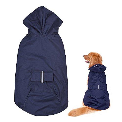 Blusea Hundejacke Regen,Hunde Regenjacke Regenmantel Hoodie mit Reflektierende...