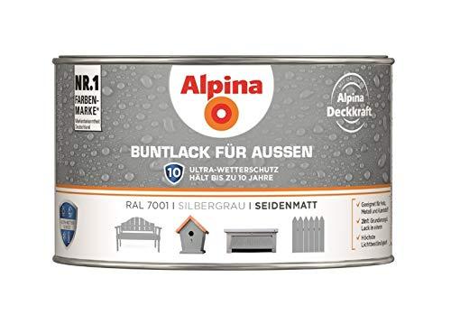Alpina - Buntlack für Außen seidenmatt silbergrau - 0,3 Liter