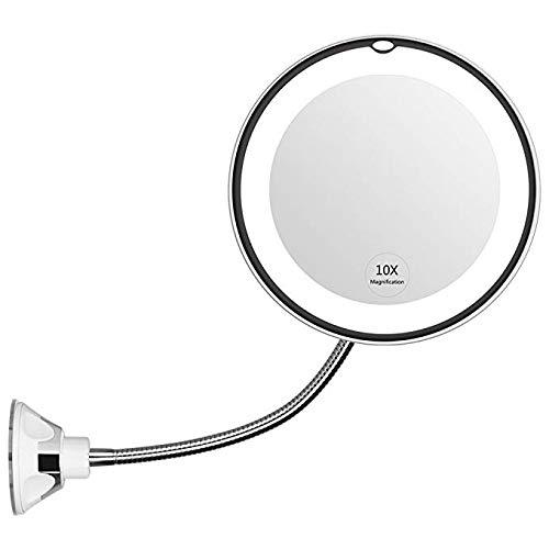 Mindruer Flexibler Spiegel, 10-fache Vergrößerung, LED-Spiegel, beleuchteter...