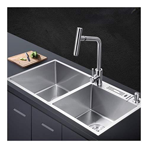BASIN spüle 2 Schüssel Küchenspüle Verbund Ausgussbecken, Aufsatzbecken...