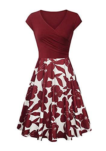 YMING Womens Plissee Mieder Blumendruckes Kleid mit V-Ausschnitt Swing Hem...