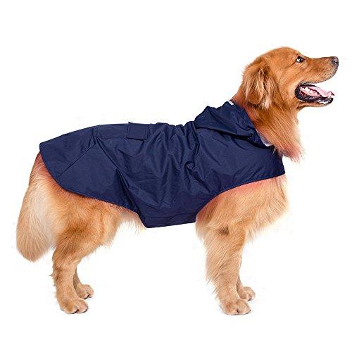 Decdeal Hunde Regenjacke Hunde Regenmantel Hoodie mit Reflektierende Streifen...