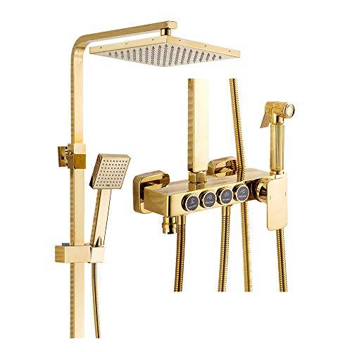 LNXGJJ Shower Duschsystem, Gold, Duschset, Wandmontage, freistehend, Duschsäule...