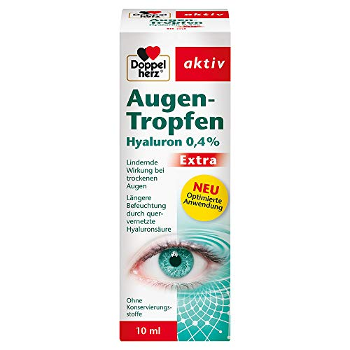 Doppelherz Augen-Tropfen Hyaluron 0,4% – Medizinprodukt mit lindernder Wirkung...