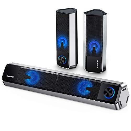 ELEGIANT PC Lautsprecher, Bluetooth 5.0 Computer Lautsprecher 10W trennbare 2.0...