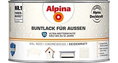 Alpina Buntlack für Außen seidenmatt cremeweiss 0,3 L - 3er Pack