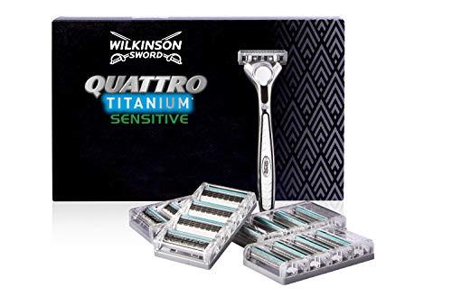 Wilkinson Sword Quattro Titanium Rasierklingen mit Herren Rasierer + 16...