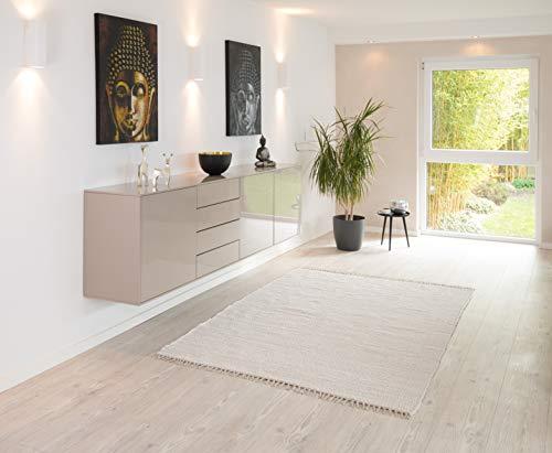 PuRo Lifestyle Handwebteppich 'Kim' weiß, Größe:120 cm x 180 cm, in vielen...