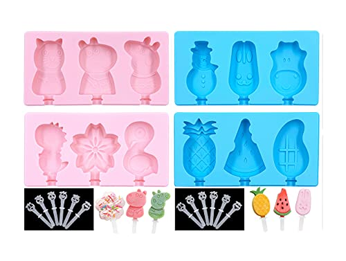 Eisformen Silikon 4er Set, 12 Stück Mini-Eisform Popsicle Form mit Deckel, BPA...