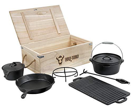 BBQ-Toro 7-teiliges Dutch Oven Set in Holzkiste, Gusseisen, bereits eingebrannt,...