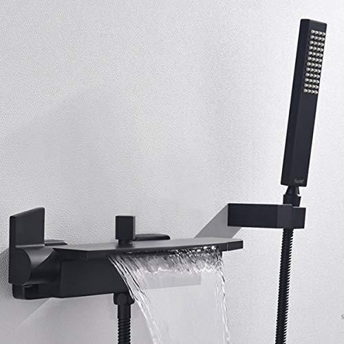 Badewannenarmatur Schwarz Mit Handbrause Duschsysteme Wannenarmatur Wasserfall...