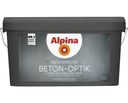 Alpina Farbrezepte BETON ART Komplett-Set: 3 L. Basis, 1 L. Finish, Innenfarbe