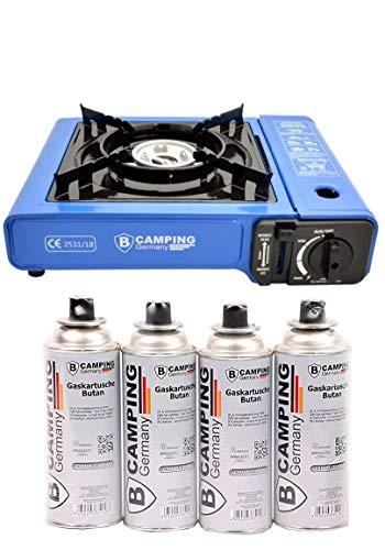 B Camping Gaskocher mit 4 Gaskartuschen Campingkocher 1-flammig max. Leistung...