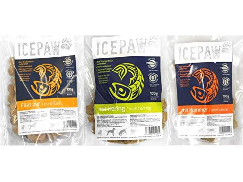 ICEPAW trailsandtales Leckerli-Kombipaket: Filet pur 100g, Hummer 100g, Hering...