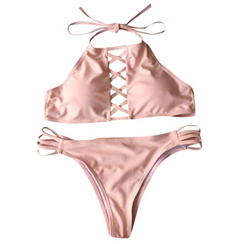 QingJiu Sommer Damen Bandeau Push Up Bikini Einfarbig Sling Badebekleidung Hohe...