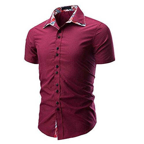 Qinhanjia Herren Shirt Mode Einfarbig Männlich Lässig Kurzarm Shirt, Herren...