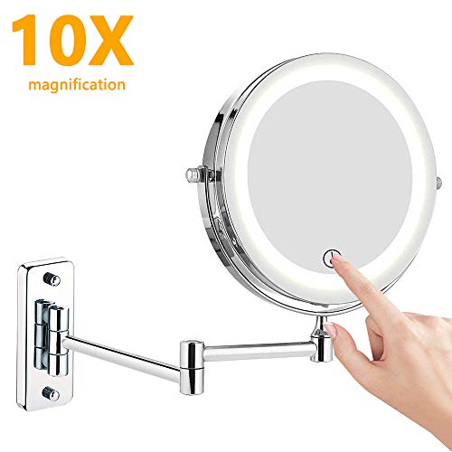 Kosmetikspiegel LED Beleuchtet, 1x/10x Wandmontage doppelseite Vergrößerung...