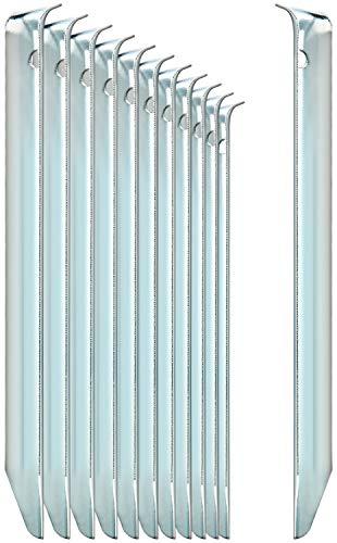 com-four® 12x Zelt-Heringe aus Stahl - halbrunde, robuste Erdnägel für...