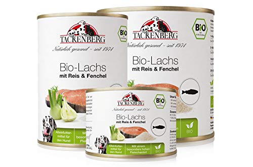 Tackenberg Hundefutter, Nassfutter Hunde, 100% Bio Lachs mit Reis & Fenchel,...
